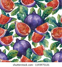 Watercolor fig fruits and leaves. Hand painted botanical seamless pattern