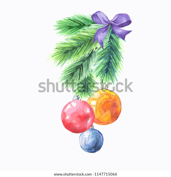 watercolor fir tree branch with balls
