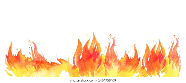 Watercolor fire in a line on the bottom of the page. Design template with hand drawn flames. Isolated sketch illustration on white background