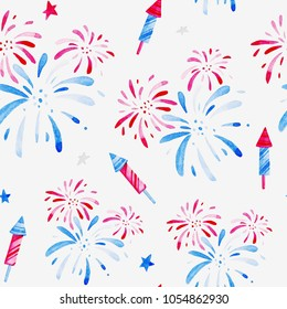 Watercolor fireworks festival pattern for holidays, 4th of July, United Stated independence day. Design for print, card, banner.