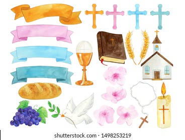Watercolor First Communion Illustration, First Communion Clipart