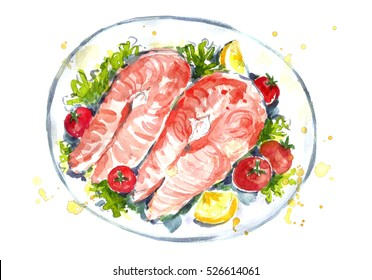 Watercolor fish steak on a plate with tomatoes and lemon.