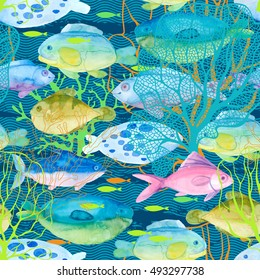 Watercolor fish and underwater plants. Seamless pattern. Sea life.