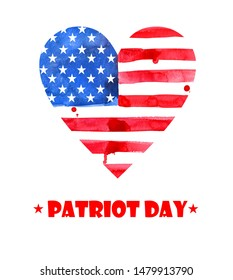 Watercolor Flag of America in the shape of  heart.  Labor Day. Patriots Day. Veterans Day. Design for postcard, flyer, poster, banner. 11th of september.