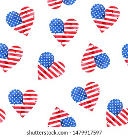 Watercolor Flag of America in the shape of  hearts. Labor Day. Patriots Day. Veterans Day. Seamless watercolor pattern. Print for gift wrapping, fabric design. American pattern. Stars, flag.