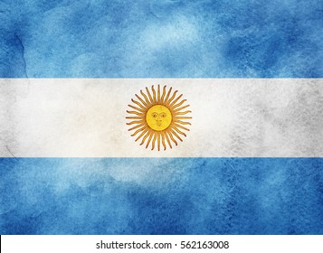 Watercolor flag background. Argentina