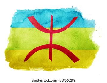 Watercolor flag background. Berbers
