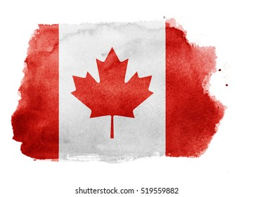 Watercolor flag background. Canada