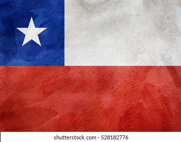 Watercolor flag background. Chile