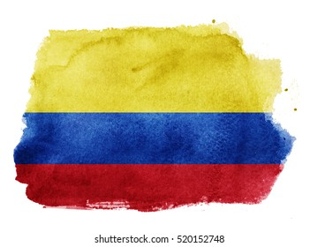 Watercolor flag background. Colombia