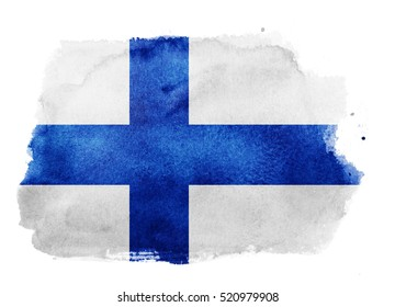 Watercolor flag background. Finland