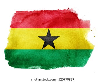 Watercolor flag background. Ghana