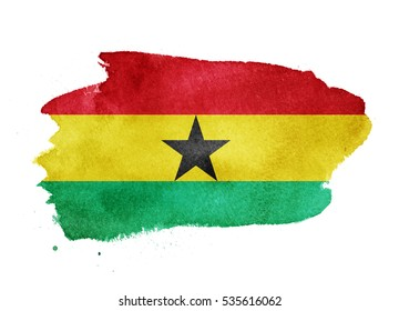 Watercolor flag background. Ghana