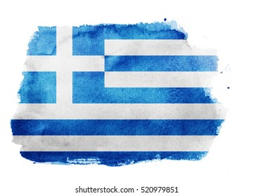 Watercolor flag background. Greece