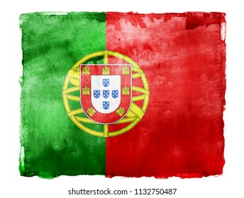 Watercolor flag background isolated on white. Portugal