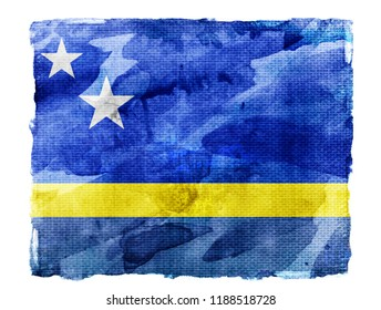 Watercolor flag background isolated on white. Curacao