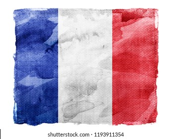 Watercolor flag background isolated on white. France