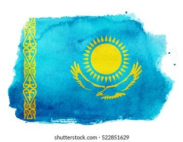 Watercolor flag background. Kazakhstan