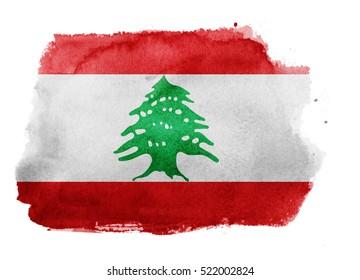 Watercolor flag background. Lebanon