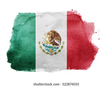 Watercolor flag background. Mexico
