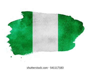Watercolor flag background. Nigeria