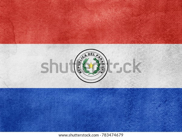 Watercolor flag background. Paraguay