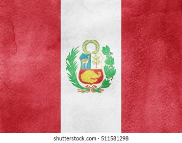 Watercolor flag background. Peru