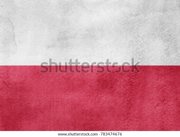 Watercolor flag background. Poland