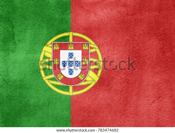 Watercolor flag background. Portugal