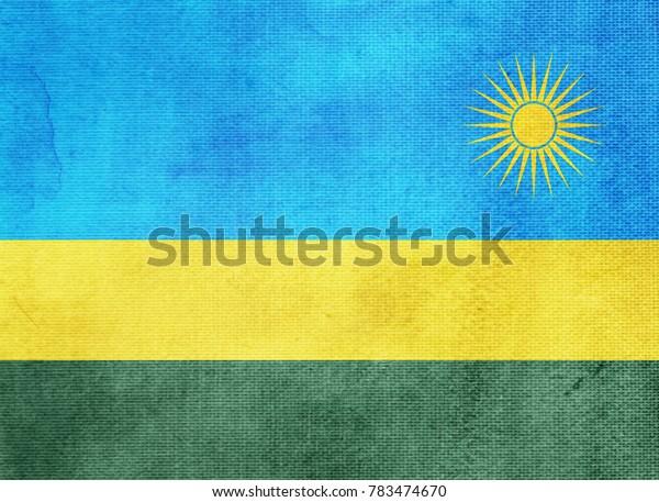 Watercolor flag background. Rwanda