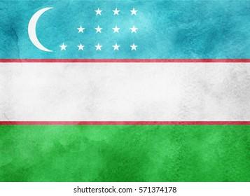 Watercolor flag background. Uzbekistan