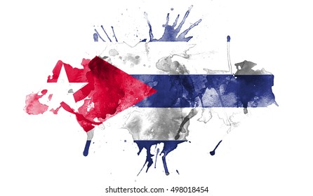 watercolor flag of Cuba