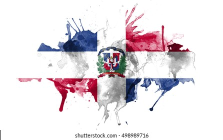 watercolor flag of Dominican Republic