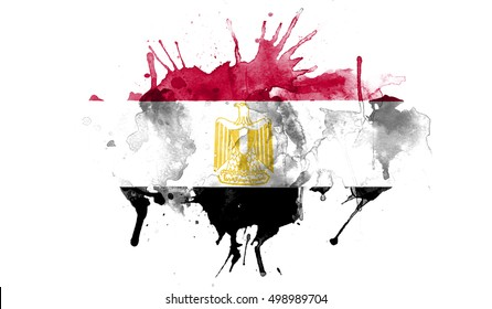 watercolor flag of egypt