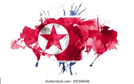 watercolor flag of North Korea