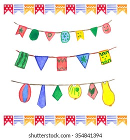 Watercolor flags garlands set. Birthday decor. Garlands made in different colors: green, yellow, orange, red, blue.
