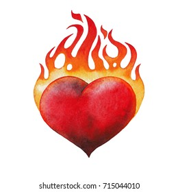 Watercolor flaming heart isolated on white background. Hand painted old school tattoo design. Traditional style