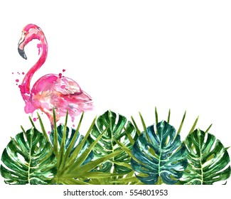 Watercolor flamingo in monstera leaves.