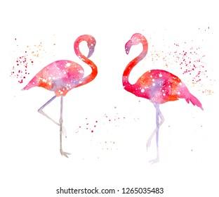 Watercolor flamingo silhouette. Nursery room print. Pink flamingo illustration