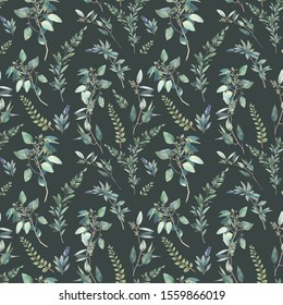 Watercolor flora wallpaper design. Hand drawn seamless pattern with greenery on dark emerald background. Repeating summer texture