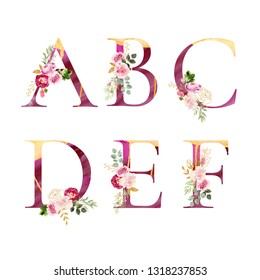 Watercolor floral alpbabet, hand painted and isolated on white background. Beautiful pink letters with golden flows. Decorated with flowers and leaves. Set of letters g, h, i, j, k, l