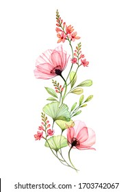 Watercolor floral arrangement. Vertical design element. Abstract big poppy flowers with exotic fresia isolated on white. Botanical illustration for cards, wedding design, cosmetics