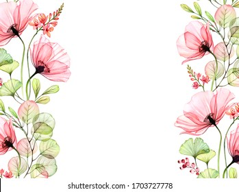 Watercolor floral background with borders on the sides. Transparent poppies and eucalyptus leaves. Isolated hand painted banner with big flowers for wedding design, stationery card print