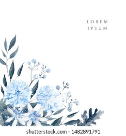 Watercolor floral background. Corner decorations. Black and blue plants, leaves and flowers
