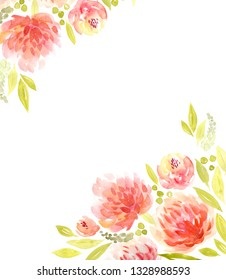 Watercolor floral background with red flowers