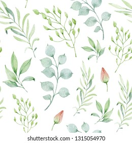 Watercolor floral background seamless pattern with leaves, plants and flower buds