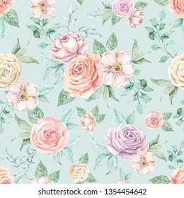 Watercolor floral background seamless pattern. Beautiful flowers in pastel colors