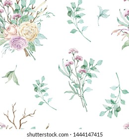 Watercolor floral background seamless pattern. Beautiful flowers and twigs in pastel colors