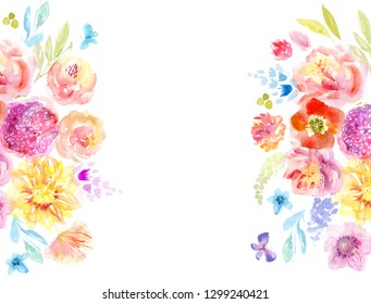 Watercolor floral background for text