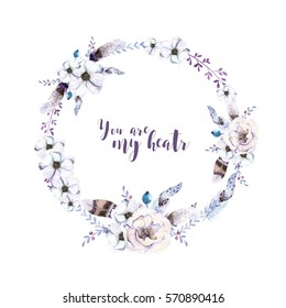 Watercolor floral boho  flower wreath. Watercolour natural frame: leaves, feather and birds. Isolated on white background. Artistic bohemian decoration illustration. Save the date. Tribal